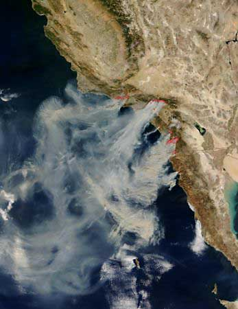 Satellite view of California burning
